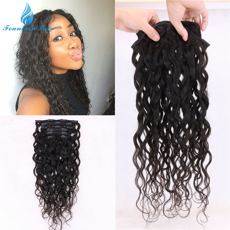 Cheap 7 Pcs/Lot Clip In Human Hair Extensions Brazilian Virgin Hair Water Wave Human Hair Clip In Extension Can Be Dyed DHL Free(China (Mainland))