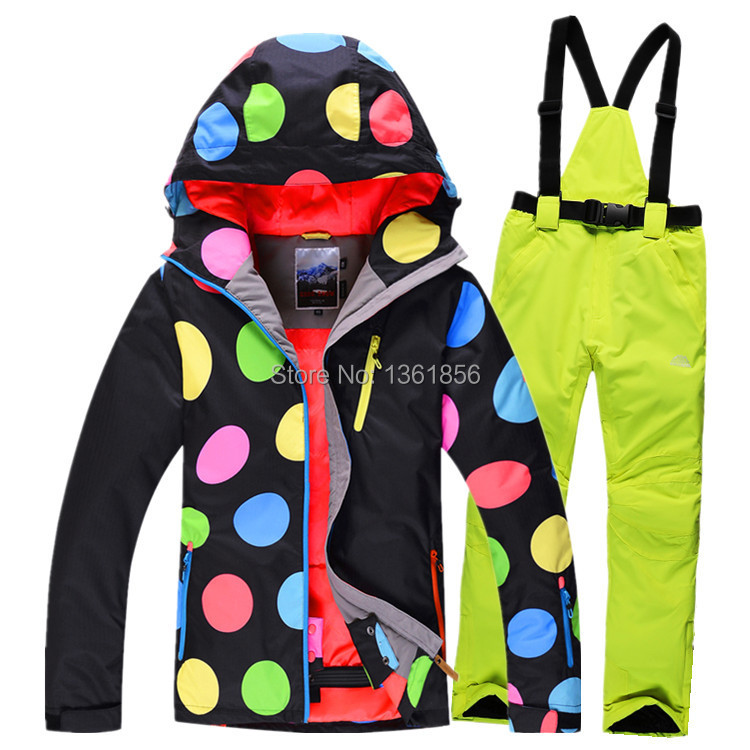 Free Shipping New style black Skiing Suit Women Pant And Jacket Winter Waterproof Sport Snow Jacket pant Snowboard good quality(China (Mainland))