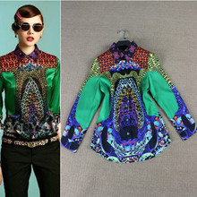 XXL!High Quality New Fashion Runway Blouses 2015 Summer Women African Prints Long Sleeve Casual Blouse Shirts Feminino Blusas