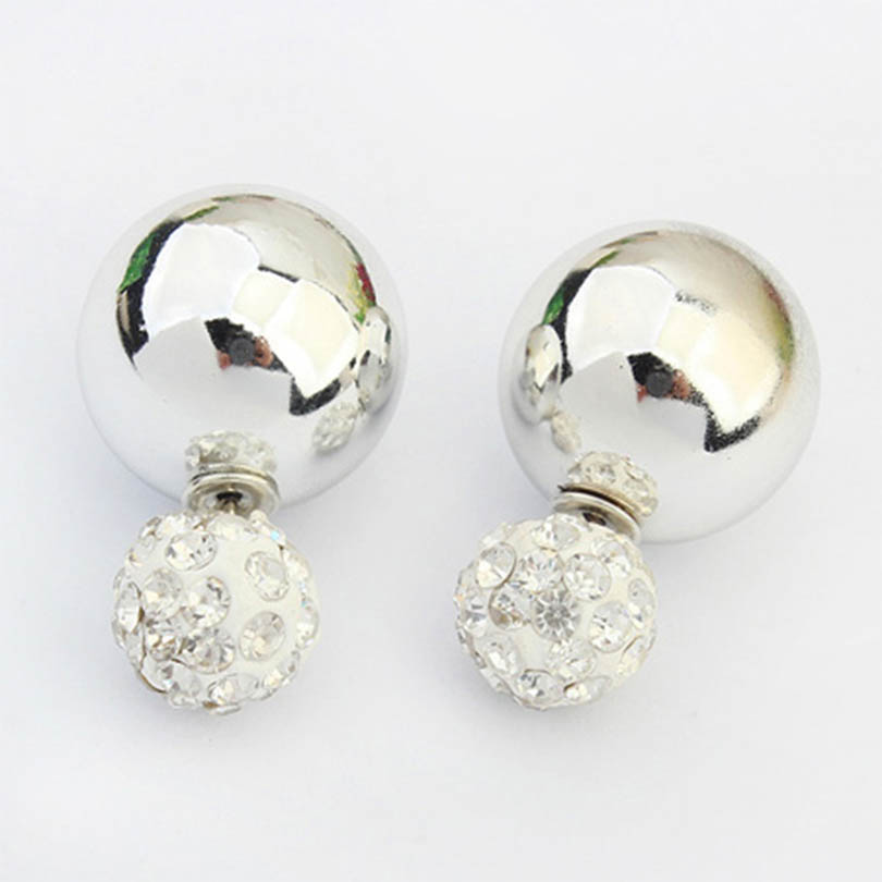 Sides Balls Stud Earrings Shiny Gold Ball Shamballa Crystal Women Fashion Jewelry Hot 2016 - SSjewellery store