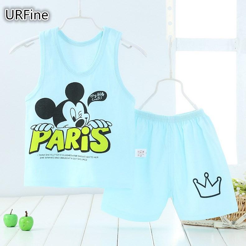 URFine Girls Boy Clothes Cartoon Cat T-Shirt + Short Children'S Suits Clothing Set Girls Set Girls Suit Children'S Clothing(China (Mainland))