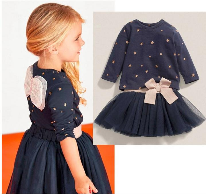 2016 New Children Baby Girls Clothes Children Angel Wing Blue Tutu Dress Star Cartoon Suits Bowknot Twinset Girls Clothing Set(China (Mainland))