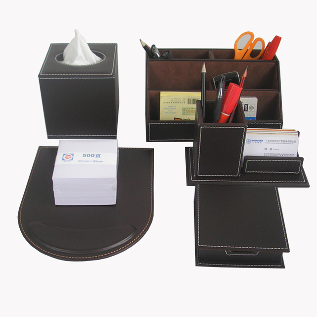 Ever perfect 6 pcs set leather office desk stationery for Construction organizer notebook