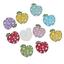 """Buy DoreenBeads Wood Sewing Button Scrapbooking Apple Random Two Holes Dot Pattern 21mm (7/8"""")x 20mm (6/8""""),100 PCs 2016 new for $3.44 in AliExpress store"""
