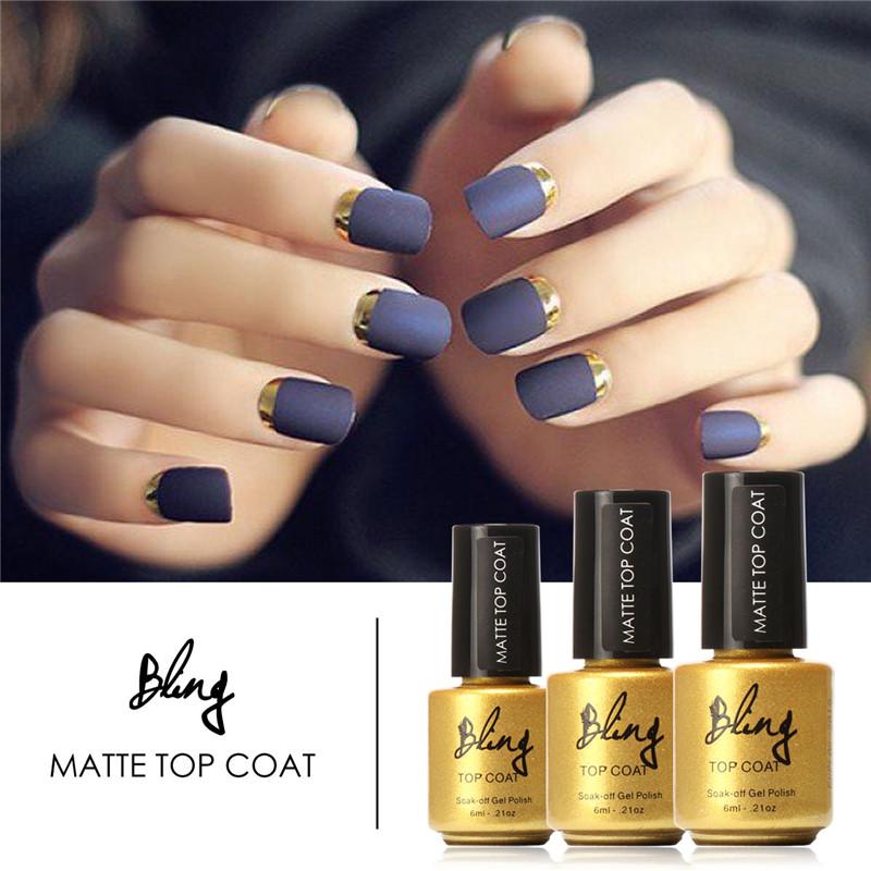 6ML/Bottle Professional Nails Art Transparent Nail Polish Long Lasting Base Soak Off Nail Gel Polish Matte Top Coat