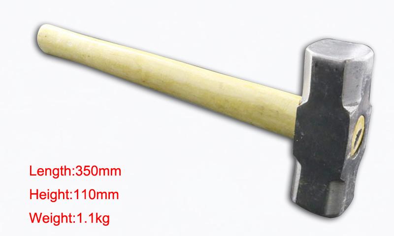 1 pcs 6 pounds Wooden handle masonry octagonal hammer woodworking iron hammer square building(China (Mainland))
