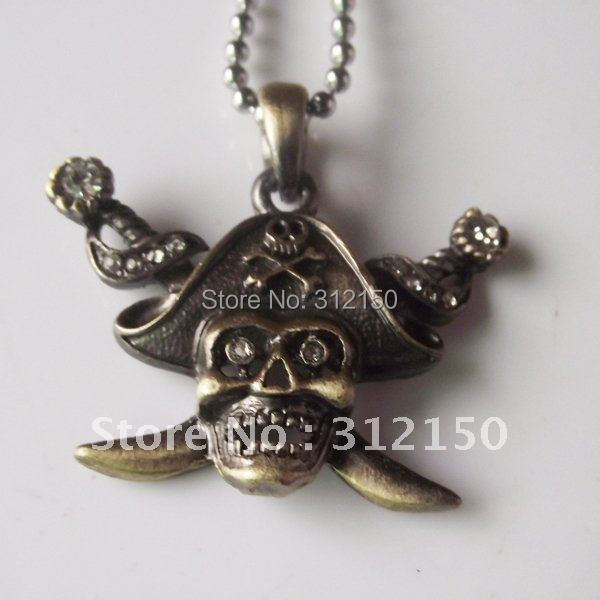 10pcs Free Shipping Antique Skull Necklace Pendant Antic Silver Skull Necklace Skull Pendant