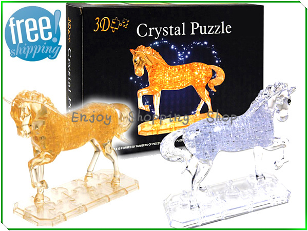 Horse puzzle 3d jigsaw crystal 2 color model building kids learning&educational toys for children brinquedos educativos(China (Mainland))