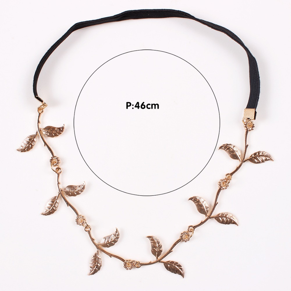 2015 Fashion Hot Sale Tiara Noiva Metal Gold Chain Flower Leaf Hairband For Wedding Bridal Hair