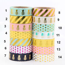 New 1X 15mm  Gold Stamping Pineapple Fruit Japanese Washi Tape Scrapbooking Tools Papelaria Decorative Masking Tape Lot 15mm*10m(China (Mainland))