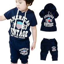 Boys Toddler Girls Sets Hooded Pants Kids Clothing T shirt Outfit Suit Summer Sz2 7 Y