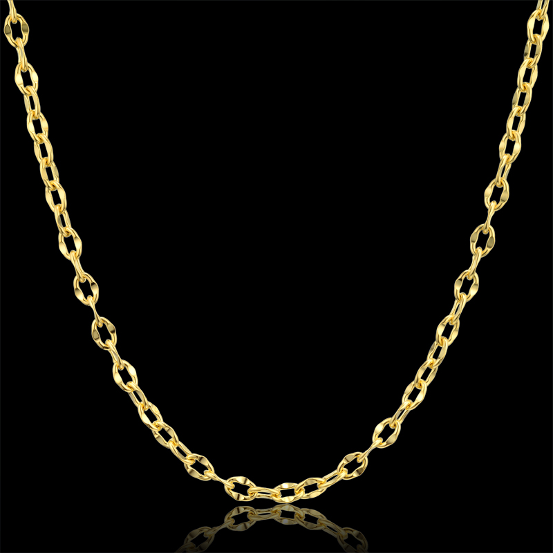 Vintage Men Jewelry Gold Necklace Wholesale, New Gothic 18K Gold Plated 7 MM Chunky Curb Cuban Link Chain Necklace(China (Mainland))