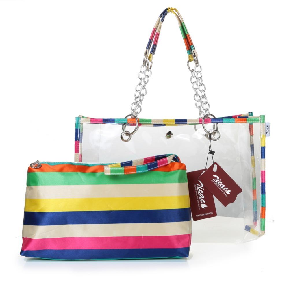 Designer fashion semi clear women handbag beach bags for Designer beach bags and totes