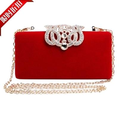 Red women clutches crown bag Velvet Handbag Diamond Clasp Hard Box Day Clutch Lady Dinner Evening Bag Long Chain women's wallets(China (Mainland))