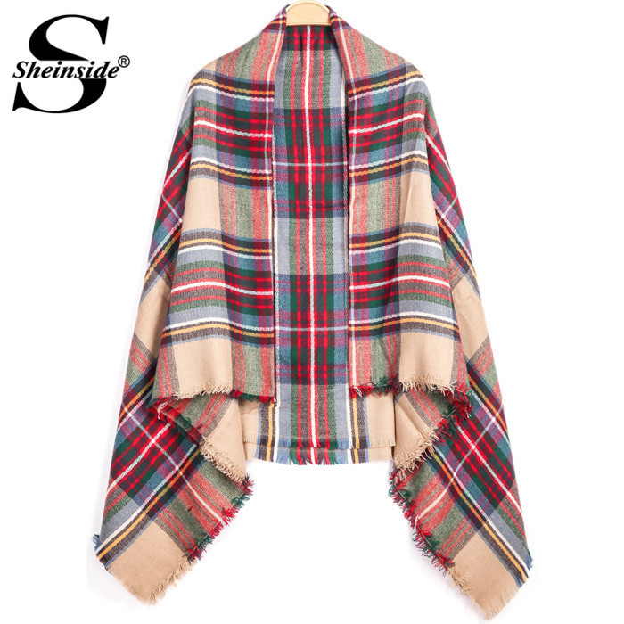 Sheinside USA Free Shipping Red Classic Plaid Fringe Scarve(China (Mainland))
