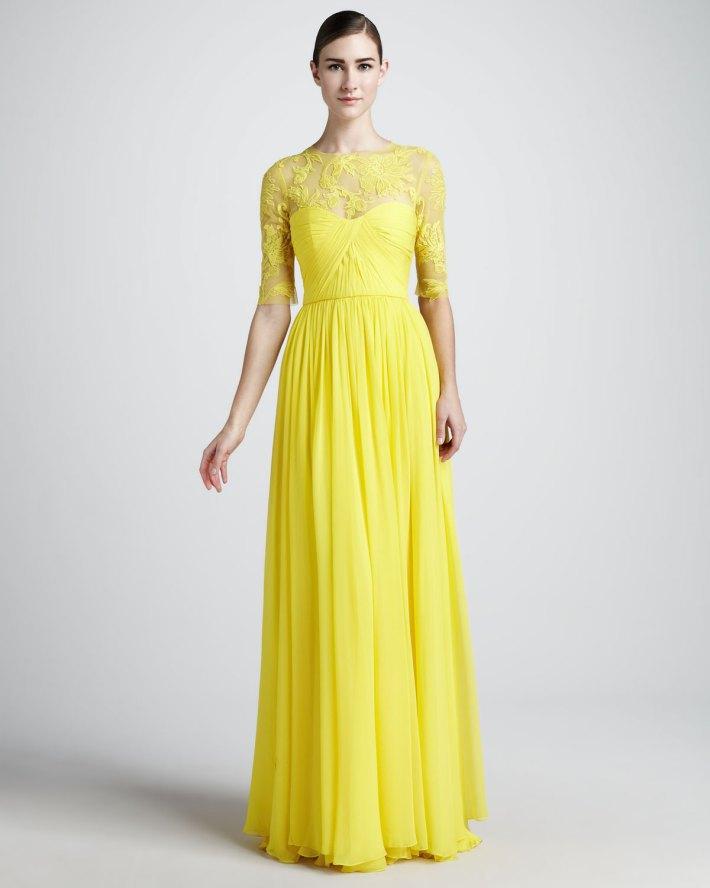 2013 best selling yellow lace chiffon modest long