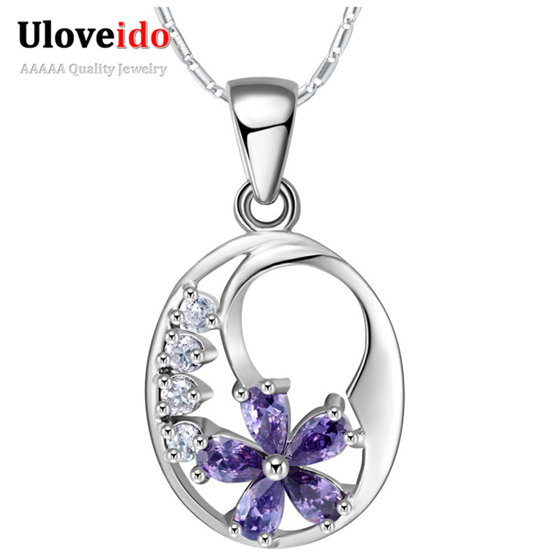 2015 New Arrival Silver Pendants Necklace Created Diamond Jewelry Crystal Purple Sun Flower Necklaces Ulove N861(China (Mainland))