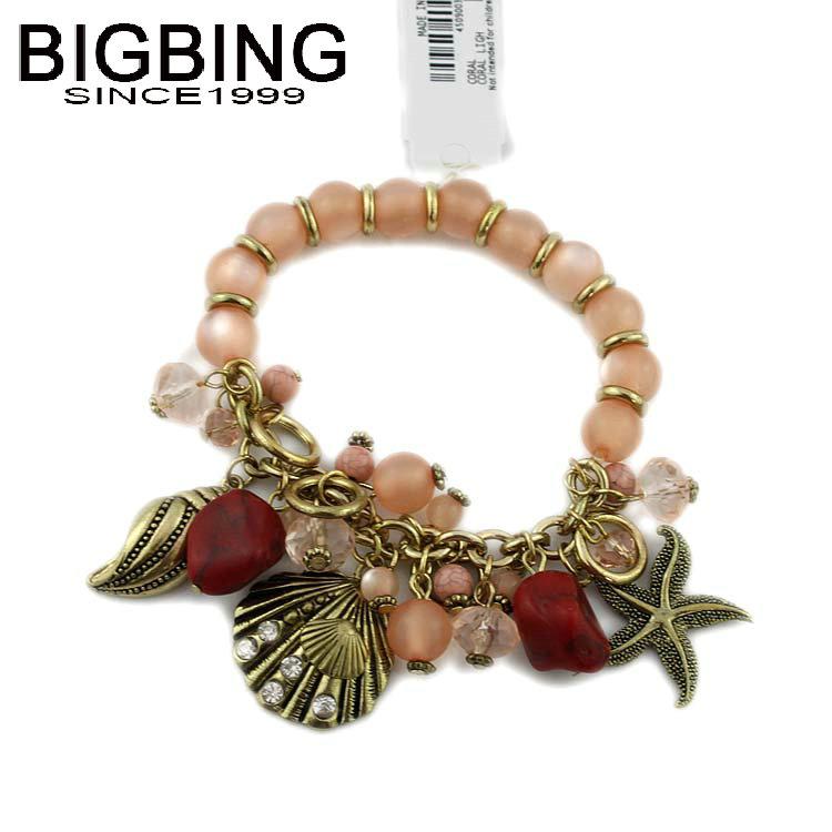 BigBing Jewelry Fashion pink crystal sea star shell pendant charm Bracelet Hand knitting bracelet high quality nickel free S582(China (Mainland))