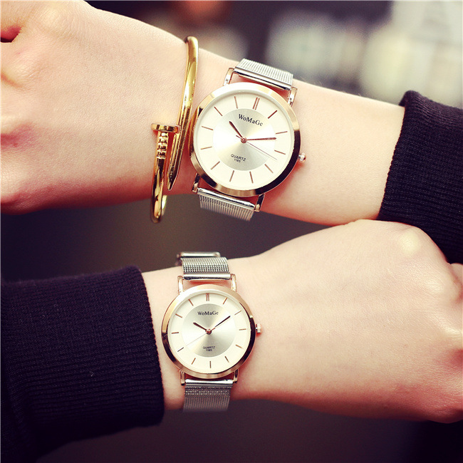 2016 New Brand Quartz Watch Gold Elegant Fashion Watch Korean Temperament Girls Students Simple Leisure Round Lovers Watch(China (Mainland))