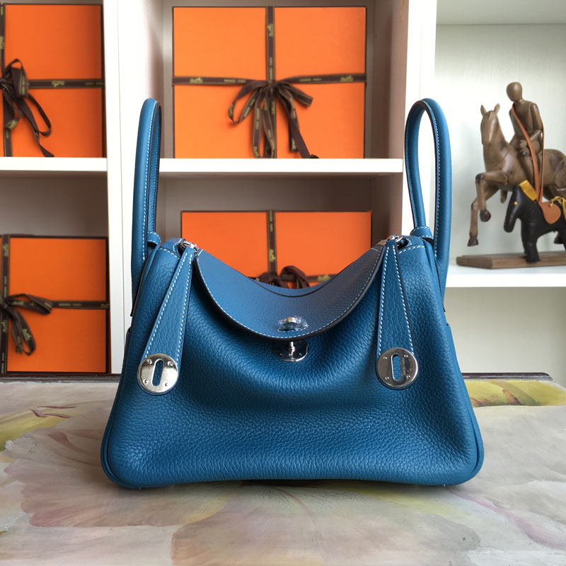 100% Hand Stitching LD 26CM Blue jaen Authentic H Clemence GENUINE LEATHER WOMEN SHOULDER BAG<br>