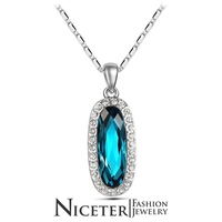 NICETER Newest Design Oval Cut Genuine 925 Sterling Silver Necklace For Women's Gift Austrian Crystal Pendants Necklace Jewelry