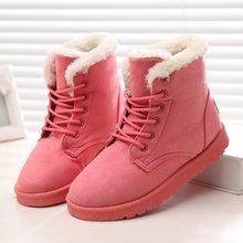 Kadın botları kış süet sıcak kürk çizmeler kadın ayakkabıları katı kısa peluş kadın kar botları artı boyutu 41 42 43(China)