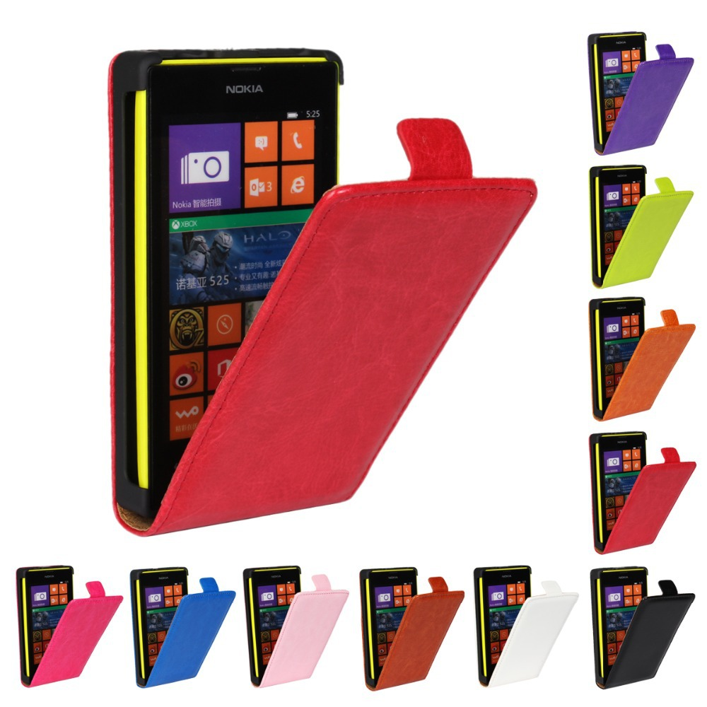 10 Colors Normal Luxury Flip Genuine Leather Case for Nokia Lumia 520 with Hard Shell Cell Phone Sleeve Cover(China (Mainland))