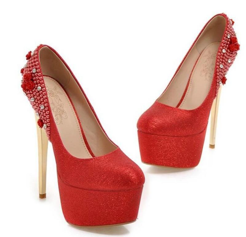 ซื้อ มุกเพชรรองเท้าแต่งงานเจ้าสาวรองเท้ารองเท้าแต่งงานแพลตฟอร์มกันน้ำด้วยสูงเงินผู้หญิงรองเท้า15เซนติเมตร