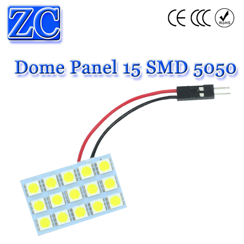 100X Dome Panel light 15 SMD 5050 LED 15SMD Car Interior roof panel reading Auto with T10 Festoon 2 Adapters DC 12v White<br><br>Aliexpress