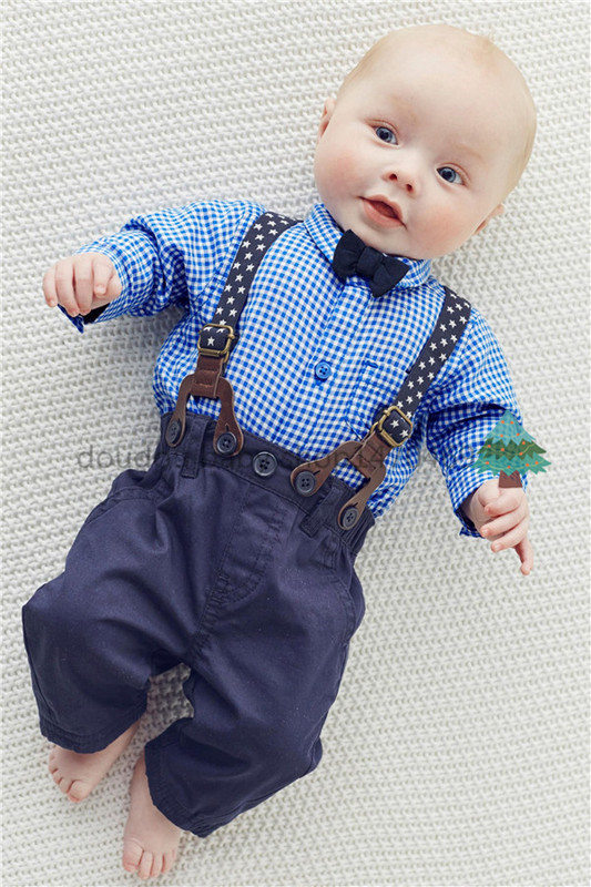 2015 retail Autumn Fashion Baby Boys Clothes 2pcs gentleman baby clothing set tight blue plaid shirt with tie+star bib pants(China (Mainland))