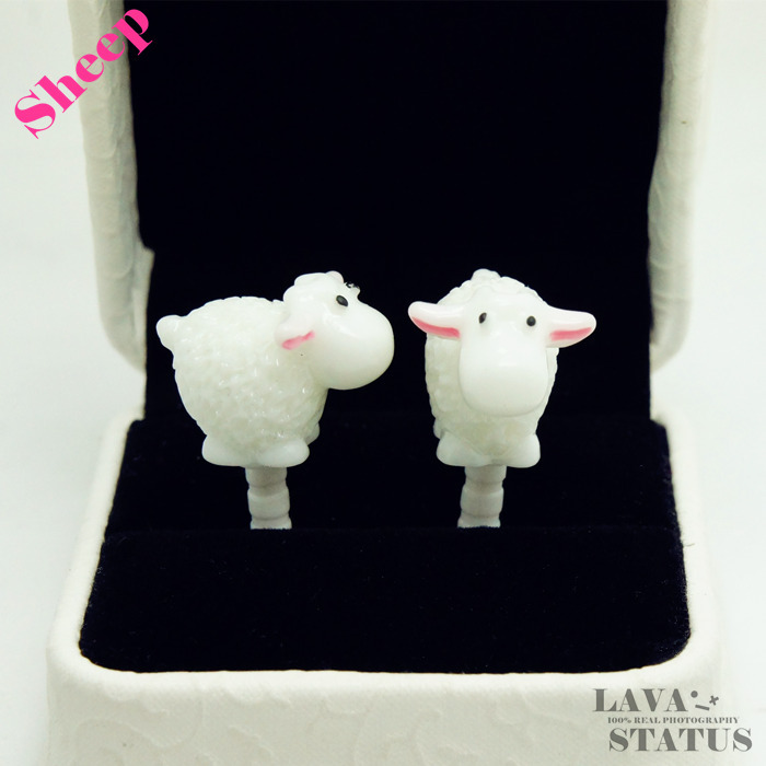 Cute White Sheep Animal Phone Anti Dust Plug Cap Cell Phone Accessories For Iphone4 4S Universal 3.5mm Earphone Jack Plug