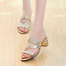 Women sandals non-slip sweet gold slippers women shoes summer sexy high heel wedge sandals women shoes hot Limited-time discount(China (Mainland))