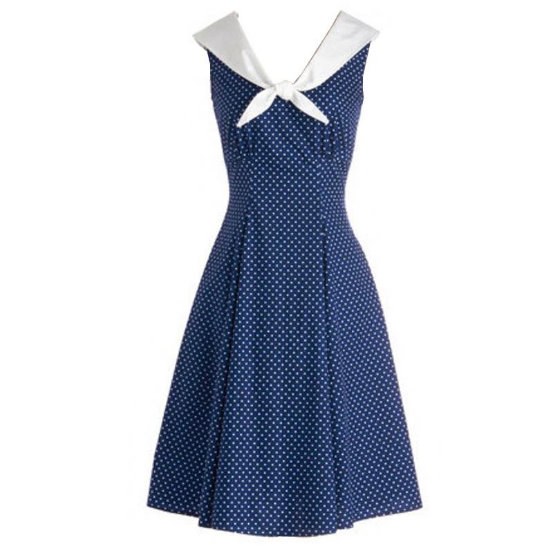 Navy blue polka dot wide v neck evening party rockabilly swing dress