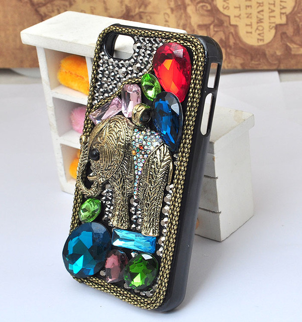 gems ancient style elephant with bling crystal rhinestone protective case for iphone5 5S or 4 4S or ipod touch 5 [JCZL DIY Shop]