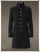 Men Single Breasted Trench Coat Overcoat Jacket Wool Woolen Slim Fit Outerwear Winter Military Black Retro Vintage(China (Mainland))