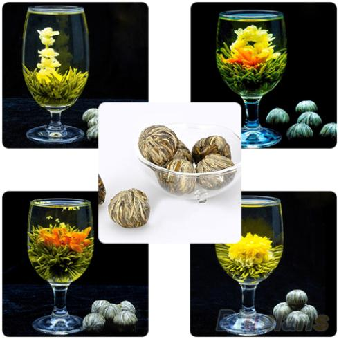 4 Balls Different Handmade Blooming Flower Green Tea Home Wedding Gift 1ON6 1OP3