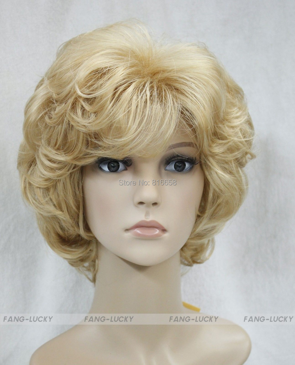 Free shipping@@Blonde Golden Short Curly Women Female Lady Hair Full Wig<br><br>Aliexpress