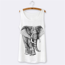 Hot Women Tank Tops Summer 2016 Harajuku Animal Elephant Cartoon Print 3D O-neck Sleeveless Sexy Tops Camisole Slim Vest White(China (Mainland))