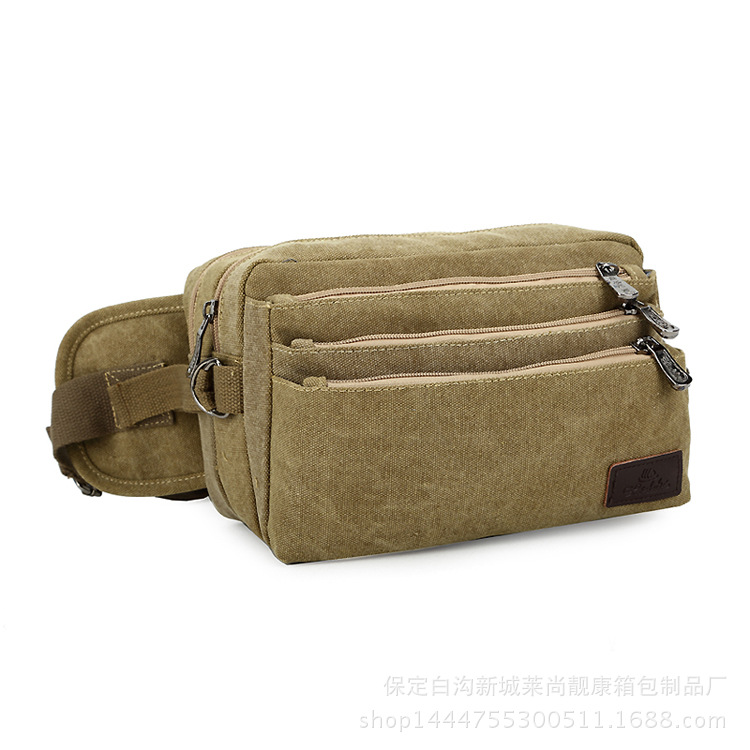 multi pockets men and women canvas travel waist bags hiking and cycling sport multiple layers belt bags packs(China (Mainland))