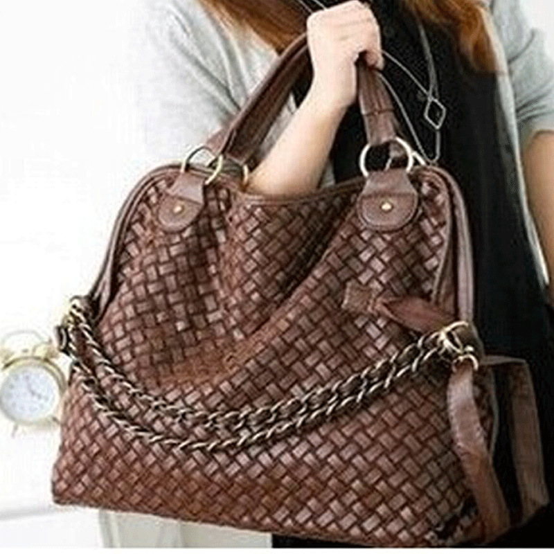 Fashion women messenger bags Brand 2014 fashion women handbag high quality Korean WEAVING GRID designers shoulder bag PU leather(China (Mainland))