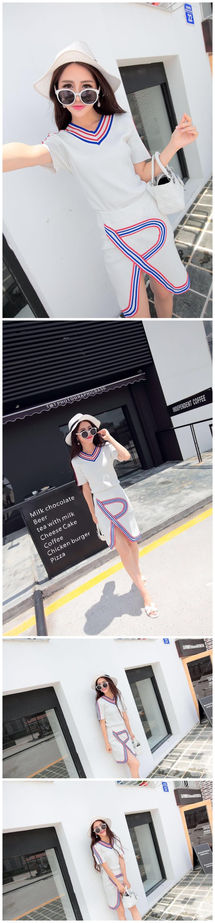 2 Piece Knit Skirt Set New 2016 Women Leisure Hit Color V-Neck Short Sleeve Sweater Top + Split Striped Slim Pencil Skirt Suit