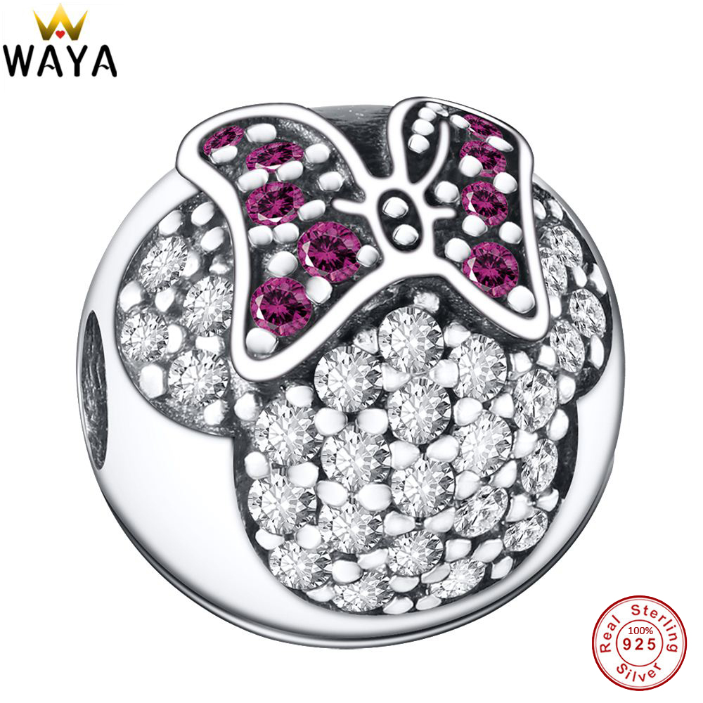 100% 925 Sterling Silver Charms Minnie Clip Pave Zircon European Charm Beads Fit Snake Chain Bracelet Original Jewelry Making(China (Mainland))