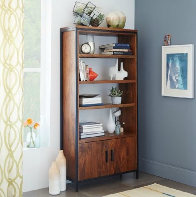 American Village Loft Bedroom Living Room Wood Wrought Iron Single Corner Cabinet Bookcase