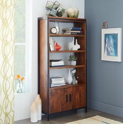 American Village Loft Bedroom Living Room Wood Wrought Iron Single Corner Cabinet Bookcase