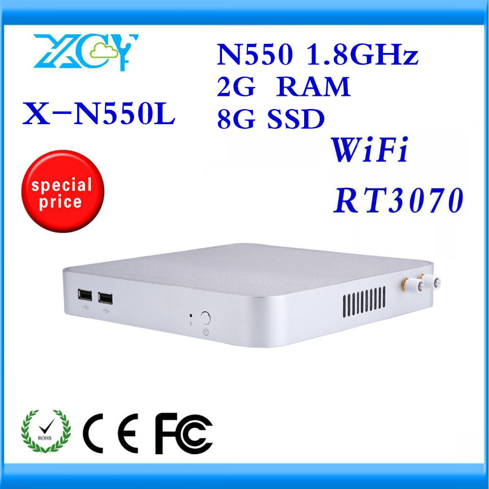 XCY LOW POWER LOW HEAT PC INTEL N550L DUAL-CORE STATION LINUX COMPUTER WITH 2GB MEMORY 8G HARD DISK MINI CONPUTER WITH FANLESS(China (Mainland))