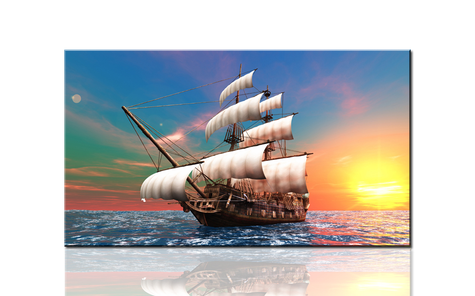 S735 Beautiful sailing boat, large HD canvas print painting artwork, wall art picture photo for living room, wholesale drop ship