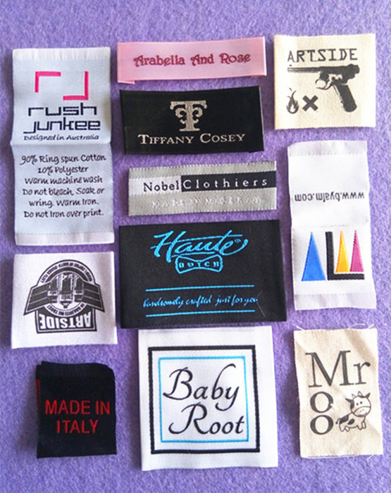 Wholesale Customized/custom garment fibre labels/tags embroidered scarf/cap/clothing labels(China (Mainland))