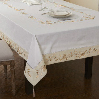 50%OFF Big size Poly cotton Hemstitched  Embroidery table cloths  72X108