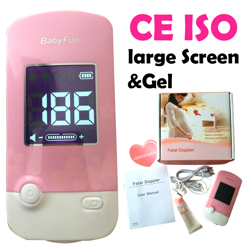 CE ISO Fetal Doppler Monitor Fetal Heart Rate Monitor for Pregnant Mother Unborn Baby LCD Large Screen