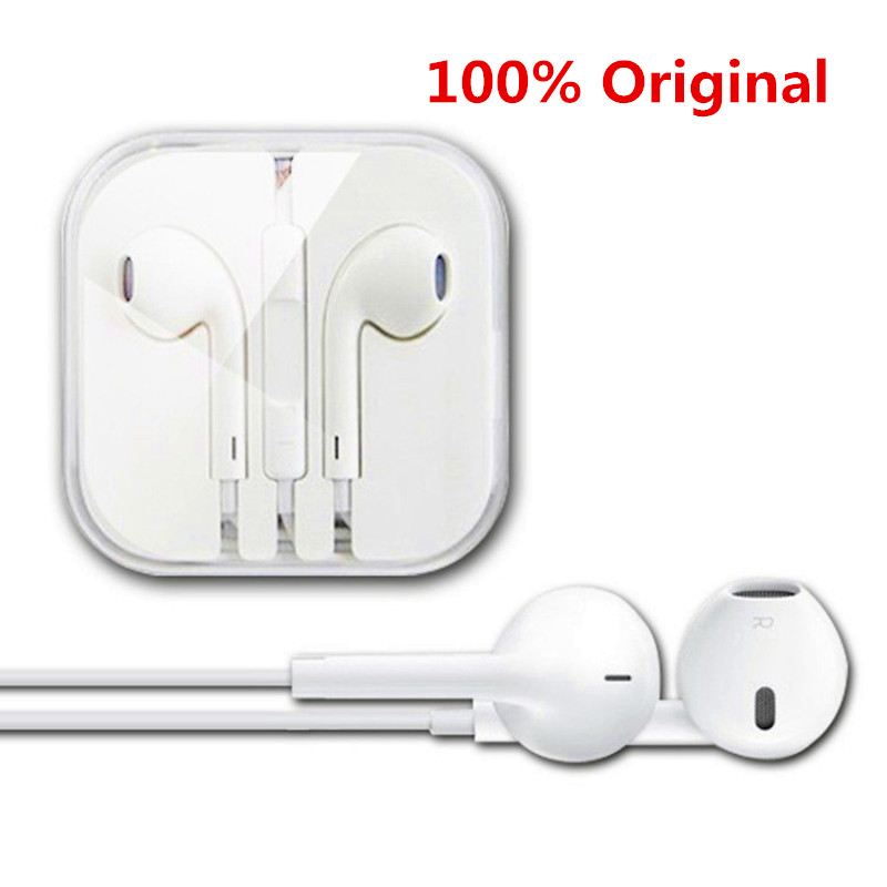 100% Original White 3.5mm headphones For Apple iPhone 5/5s/6/6s plus Earpods earphone with Remote and Mic For iPad/iPod(China (Mainland))